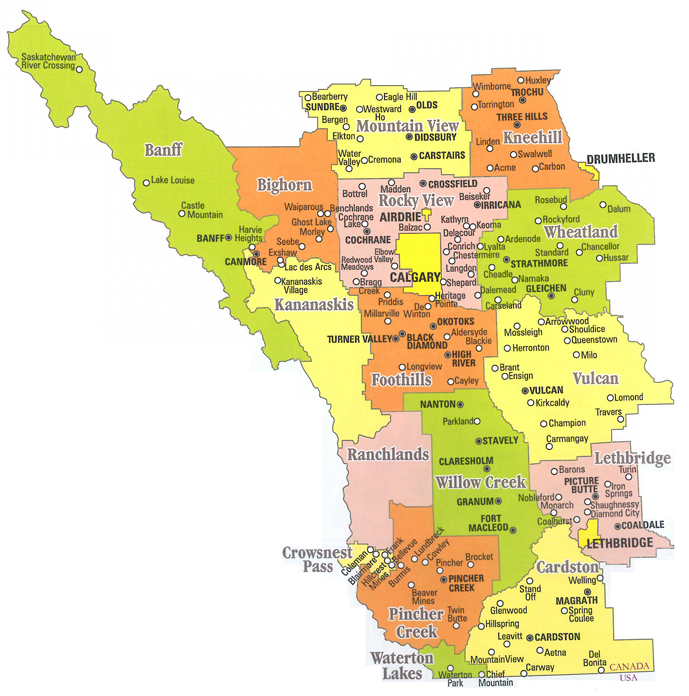 Southern Alberta Rural Counties Map Calgary area