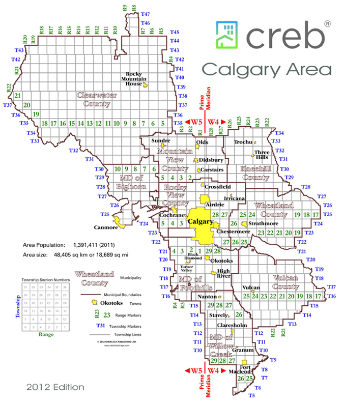 Alberta Rural Township-Range Map: Calgary area on